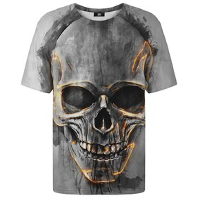 T-shirt with Short Sleeve Fire Skull