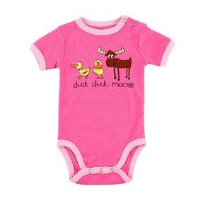 Vicces rózsaszín gyerek body Kacsák és jávorszarvasok