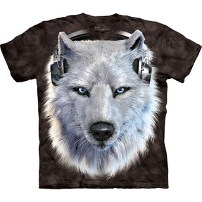 Black T-shirt with Short Sleeve Wolf DJ