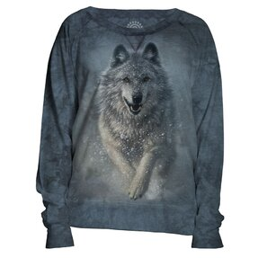 Ladies' Blue Sweatshirt Snow Wolf