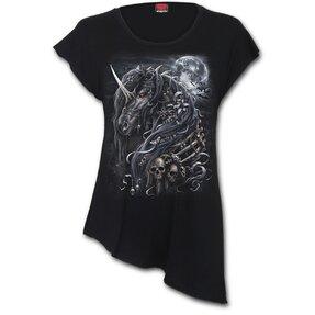 Fekete egyszarvú hosszú női póló
