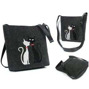 Kabelka Messenger Antracit - Čierna a biela mačka