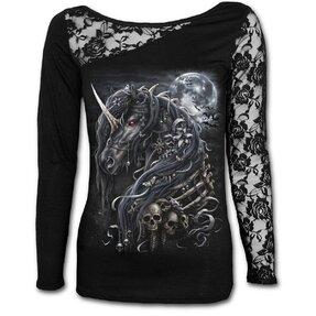 Dámske tričko s čipkou Temný jednorožec
