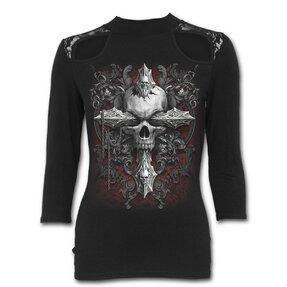 Dámske tričko s trojštvrťovým rukávom Gotický kríž a lebka