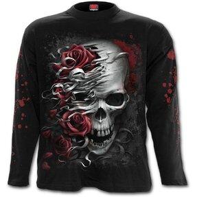 Pánske tričko s dlhým rukávom Lebka a ruže