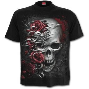 Kids' T-shirt with Short Sleeve Skull and Roses