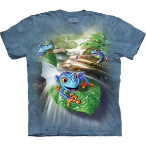 Kids' T-shirt with Short Sleeve Blue Frogs