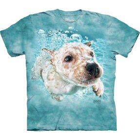 Gyerek póló Játékos kutya a víz alatt japán terrier - kék