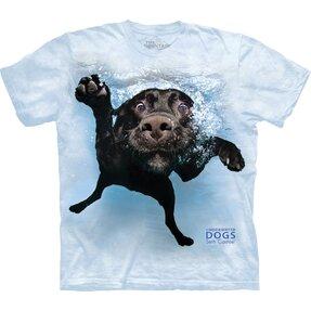 Kids T-shirt Playful Dog under Water Labrador - blue