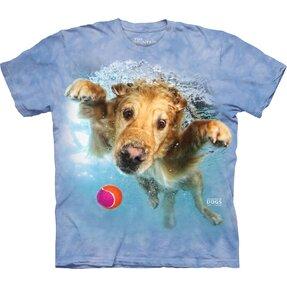 Detské tričko Hravý pes pod vodou zlatý retrívr - modré