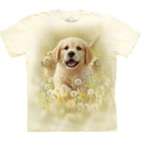Kids' T-shirt with Short Sleeve Golden Retriever Puppy