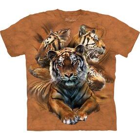 Rövid ujjú gyerek póló Tigris kollázs