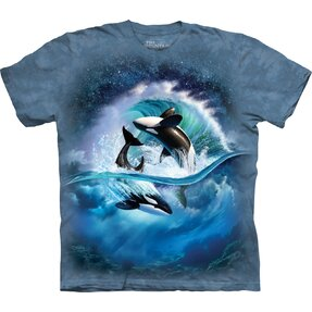 Kids' T-shirt with Short Sleeve Orcas on Wave