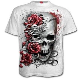 Weißes T-Shirt mit kurzen Ärmeln Schädel und Rosen