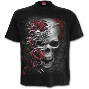 Black T-shirt with Short Sleeve Skull and Roses