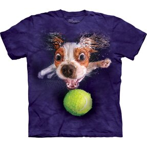 Adult T-shirt Playful Dog under Water Cavalier - violet