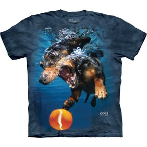 Adult T-shirt Playful Dog under Water Dachshund - blue