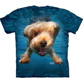 Adult T-shirt Playful Dog under Water Yorkshire Terrier - blue