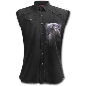 Damen Hemd ohne Ärmel Wölfischer Geist