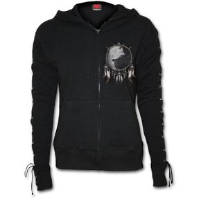 Ladies' Sweatshirt with Lacing Wolf Face