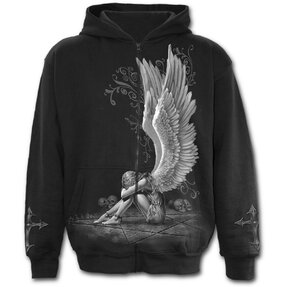 Zip Sweatshirt Crying Angel White