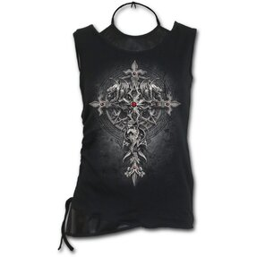 Ladies' Tank Top 2in1 with design Gothic Cross