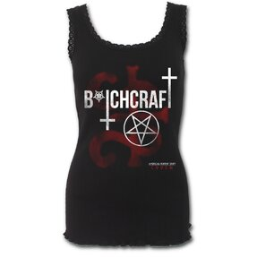 Dámske tričko lemované čipkou s motívom American Horror Story Coven - Bitchcraft