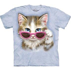 Rövid ujjú póló Macska szemüvegben