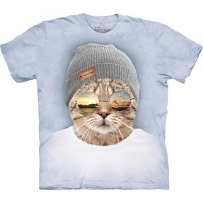 T-shirt with Short Sleeve Cool Hipster Cat
