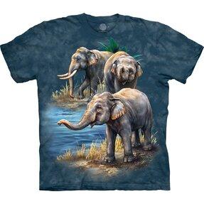 T-Shirt Kurzarm Elefanten am Wasser