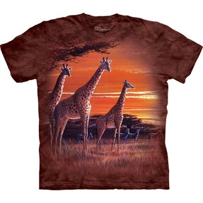 T-Shirt Kurzarm Giraffen in Savanne