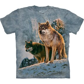 T-shirt with Short Sleeve Wolves in Mountains