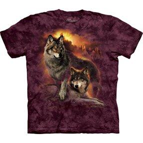 T-Shirt Wölfe im Sonnenuntergang