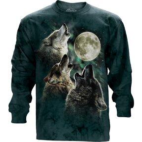 Drei auf Mond heulende Wölfe