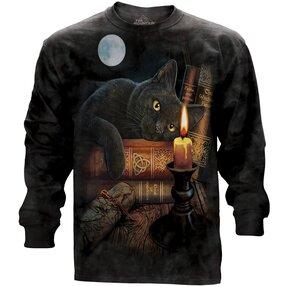T-Shirt mit langen Ärmeln Katze bei der Kerze