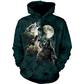 Hoodie Three Wolves Howling at Moon