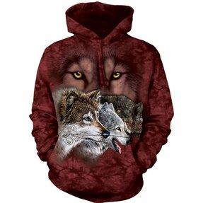 Sweatshirt mit Kapuze Wölfe auf der Jagd
