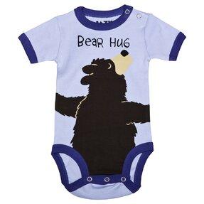 Blauer Baby Strampler Umarmung des Bären