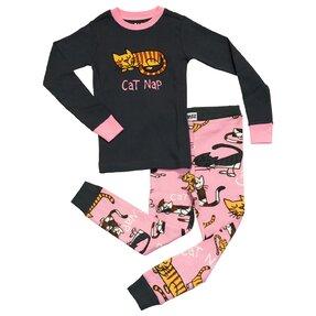 Pijama pentru copii, două piese - Pisicuța adormită - fete