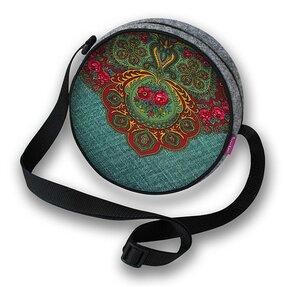 Runde Handtasche Twist - Rotes Ornament