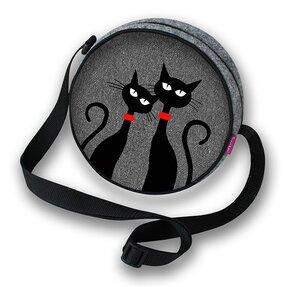 Runde Handtasche Twist - Zwei Katzen