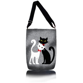Easy Cross Shoulder Bag - Black and White Cat