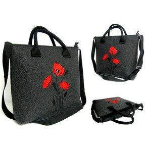 Handtasche Love Antracit - Rote Mohne