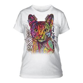 Dámske biele tričko Russo Abesínska mačka