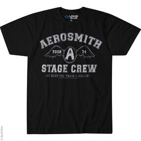 Čierne hudobné tričko Aerosmith Stage crew