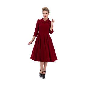 Červené zamatové retro pin up šaty s rukávom