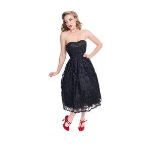Fekete retro pin up ruha csipkével