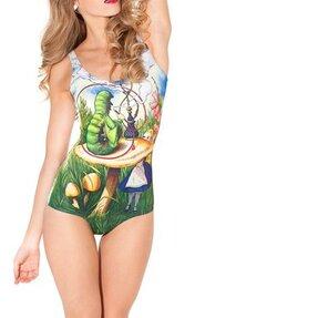 Női egyrészes fürdőruha Alice és hernyó