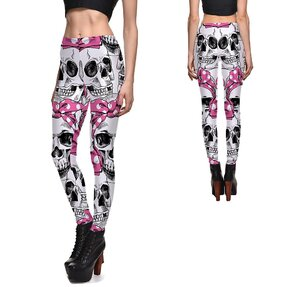 Női elasztikus leggings Bowtie Skull
