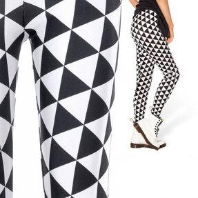 Női elasztikus leggings Feketefehér háromszögek